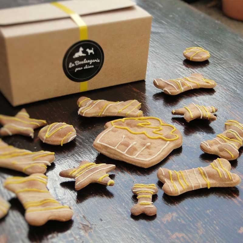 coffret biscuits festifs bio au miel pour chiens biscuits pour chien. Black Bedroom Furniture Sets. Home Design Ideas