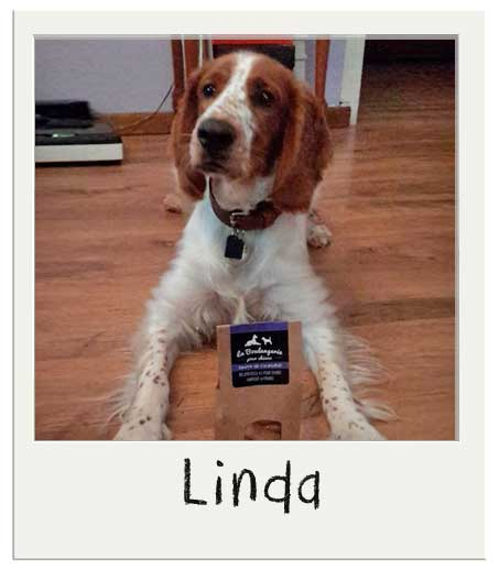 Linda avec nos biscuits pour chiens