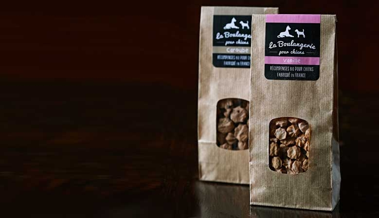 Organic dog treats, made in France